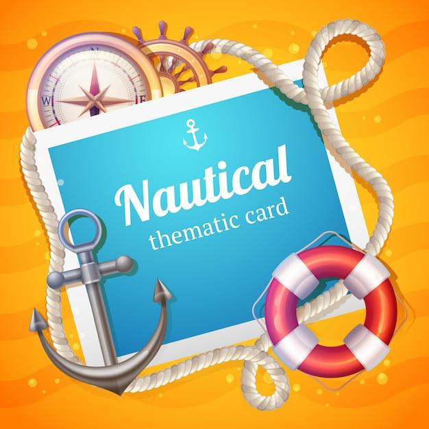 Plantilla de tarjeta marina Vector Gratis