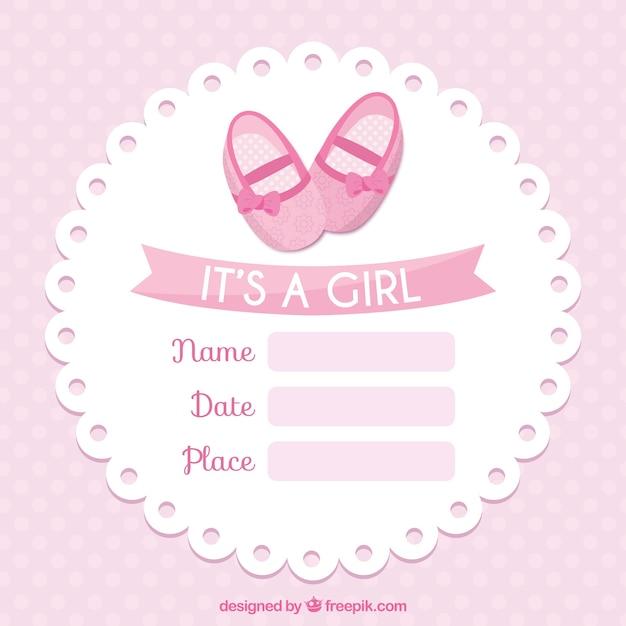 Plantilla de tarjeta rosa de bienvenida del bebé ...