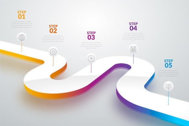 Plantilla de degradado línea de tiempo infografía vector gratuito