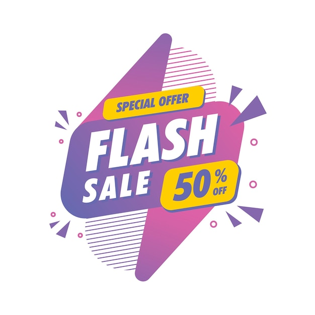 Plantilla de descuento de venta flash Vector Premium