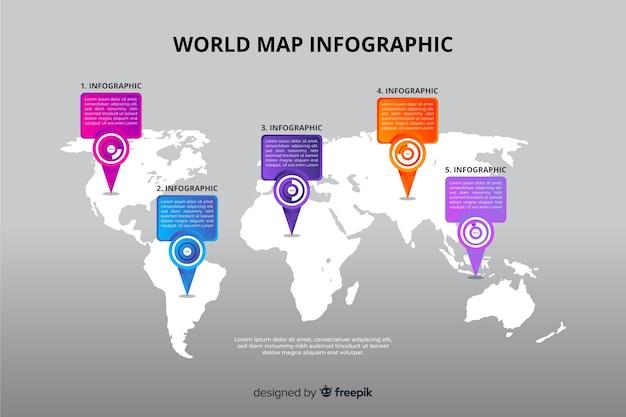 Plantilla de destino de gráfico de mapa mundial vector gratuito