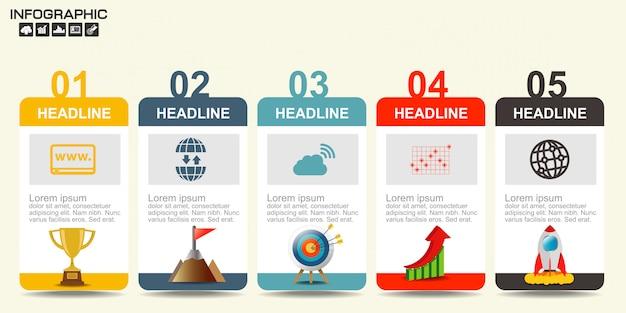 Plantilla de diagrama de cinco pasos Vector Premium