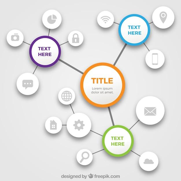 Plantilla de diagrama con variedad de iconos vector gratuito