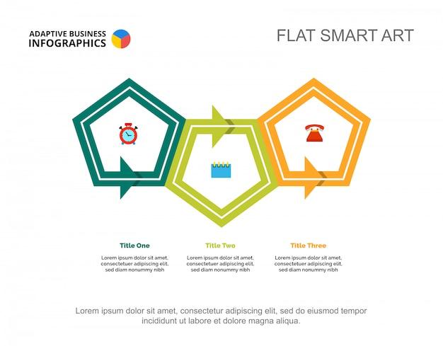 Plantilla de diapositiva de flujo de trabajo de tres puntos Vector Premium
