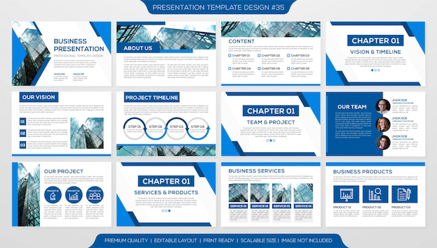 Plantilla de diapositivas minimalista Vector Premium