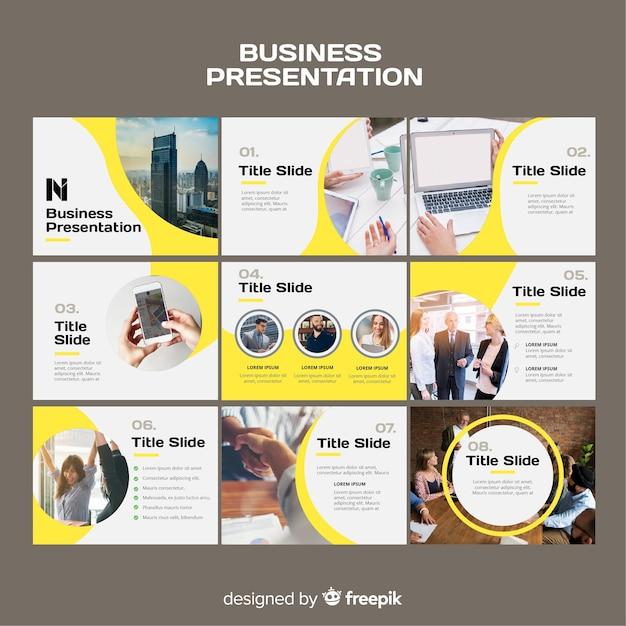 Plantilla de diapositivas de  presentaciones de negocios vector gratuito
