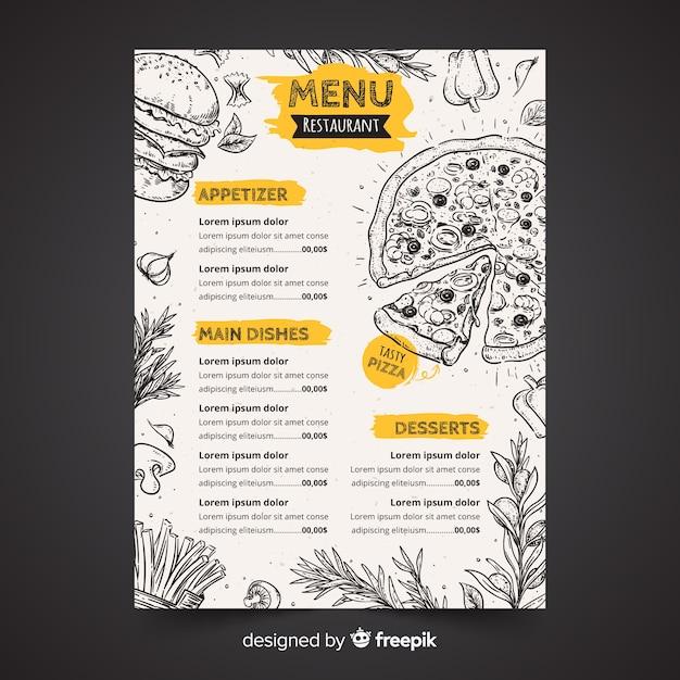 Plantilla dibujada de menú de restaurante vector gratuito