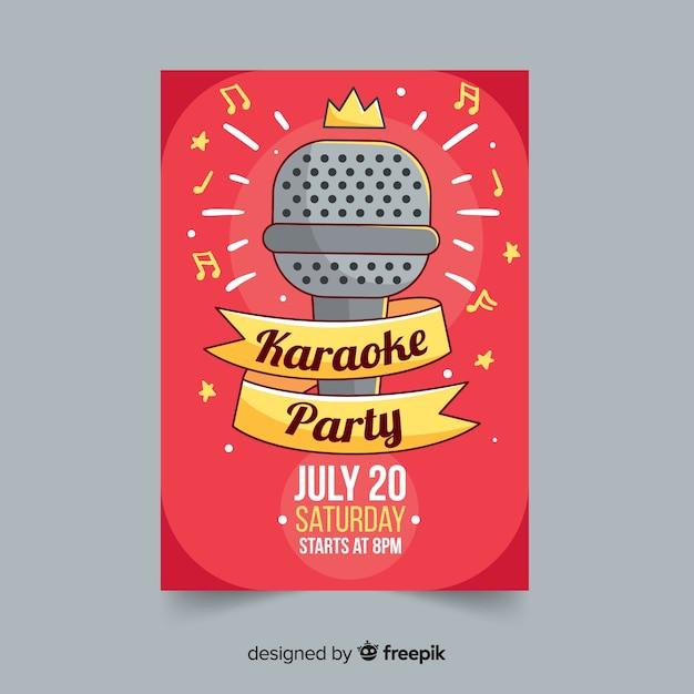 Plantilla dibujada de poster de fiesta de karaoke vector gratuito