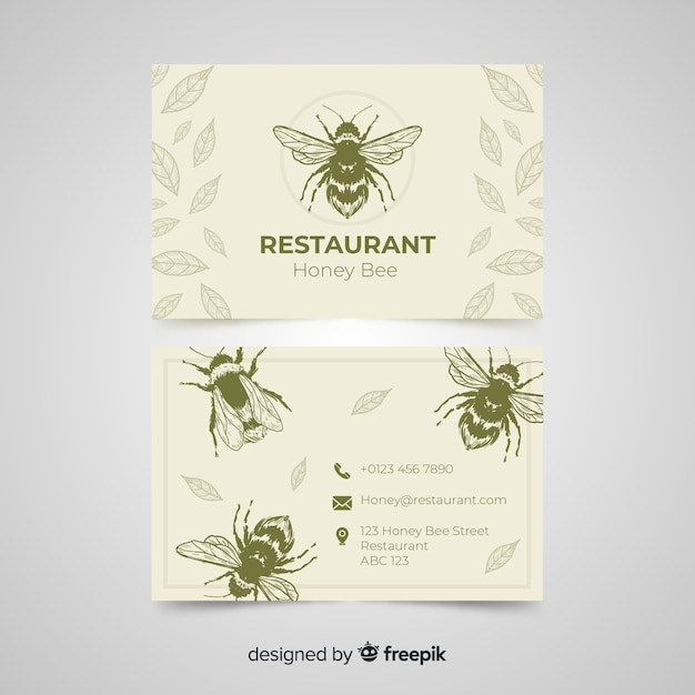 Plantilla dibujada de tarjeta de visita de restaurante vector gratuito