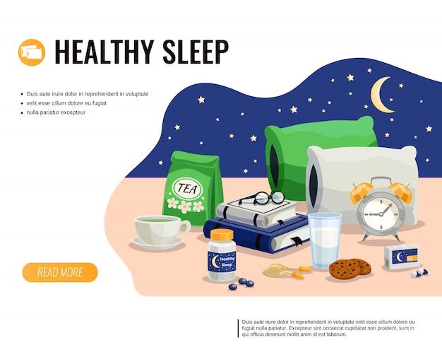 Plantilla de dibujos animados de sueño saludable con vaso de leche paquete de té relajante y pastillas para dormir en el cielo nocturno vector gratuito