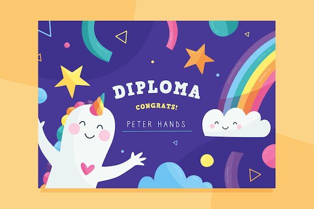 Plantilla de diploma colorido para niños vector gratuito