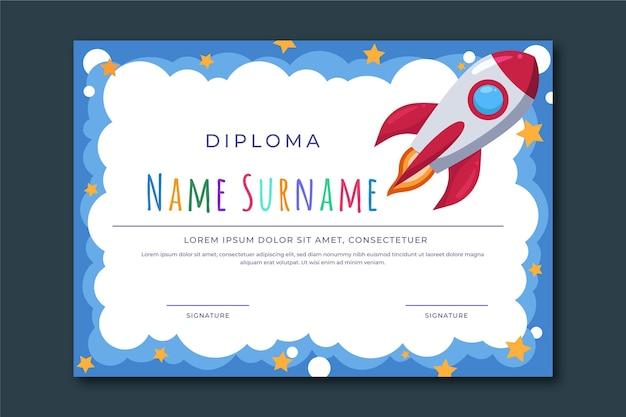 Plantilla de diploma para graduación infantil vector gratuito