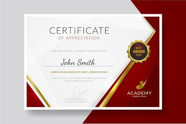 Plantilla de diploma moderno vector gratuito