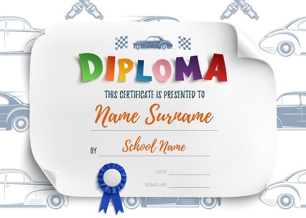 Plantilla de diploma para niños, certificado de antecedentes con coches de carreras para la escuela, preescolar o guardería. Vector Premium
