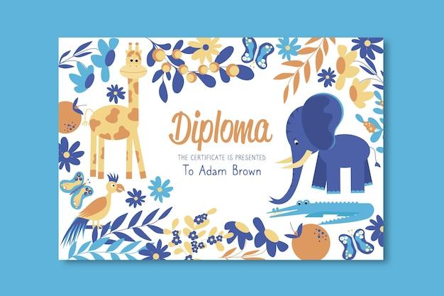 Plantilla de diploma para niños con elefante y jirafa vector gratuito