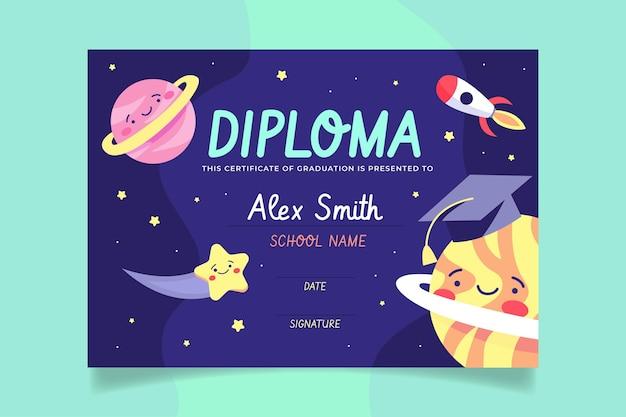 Plantilla de diploma para niños con espacio Vector Premium