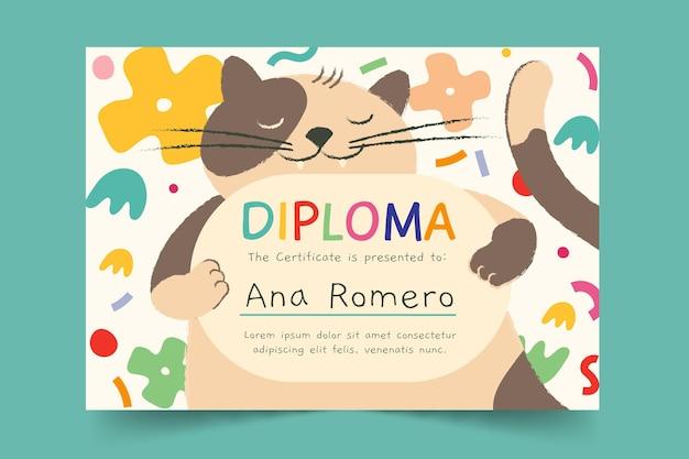 Plantilla de diploma para niños con gato vector gratuito