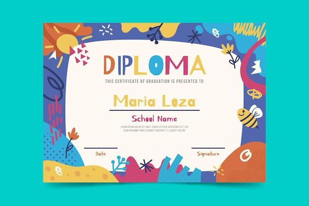 Plantilla de diploma de niños Vector Premium