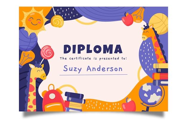 Plantilla de diploma para niños vector gratuito