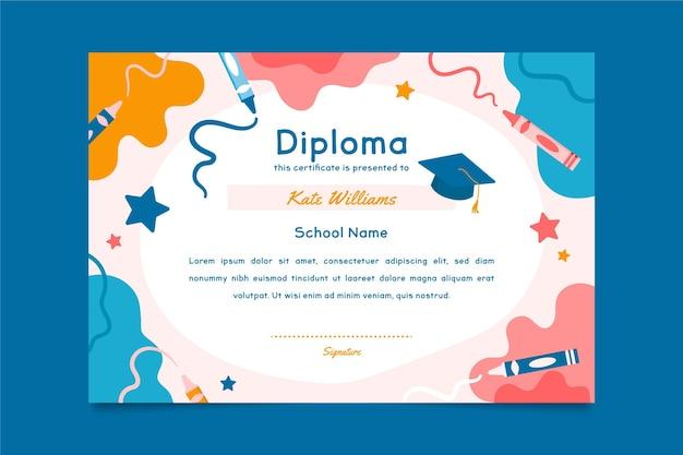 Plantilla de diploma para niños Vector Premium