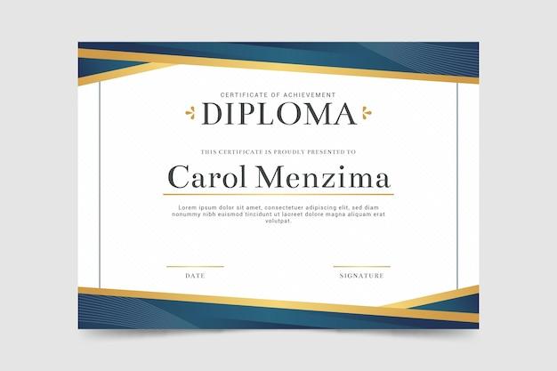 Plantilla de diploma simple Vector Premium