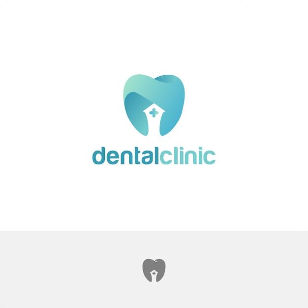 Plantilla de diseño abstracto de dientes de logotipo de clínica dental Vector Premium