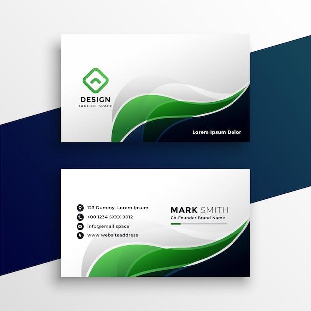 Plantilla de diseño abstracto verde tarjeta de visita vector gratuito