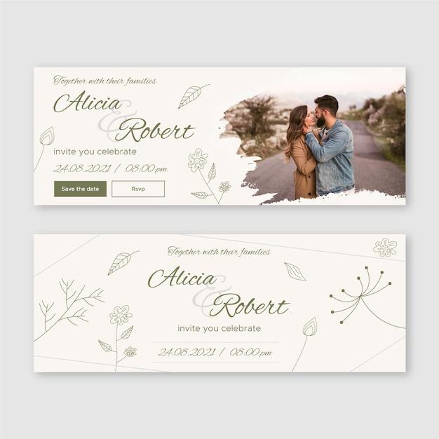 Plantilla de diseño de banner de boda vector gratuito