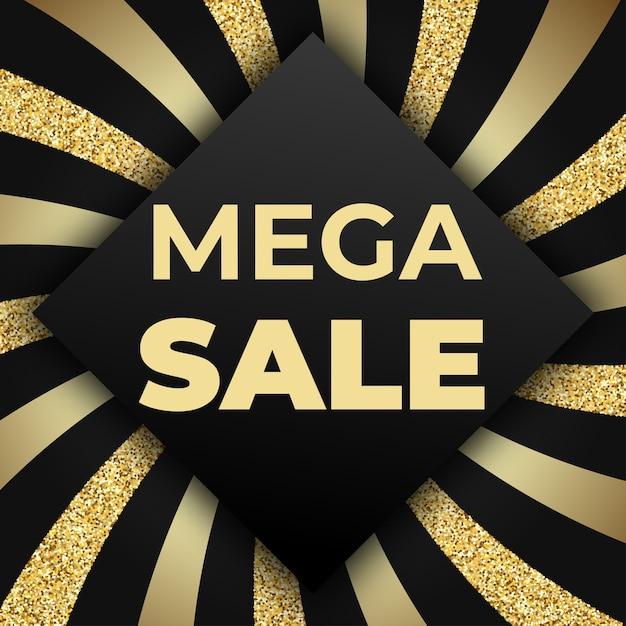 Plantilla de diseño de banner comercial de mega venta con brillo brillante y rayas doradas sobre fondo negro. ilustración para folleto, cartel, descuento, web Vector Premium