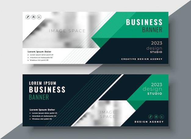Plantilla de diseño de banner de negocio abstracto verde vector gratuito