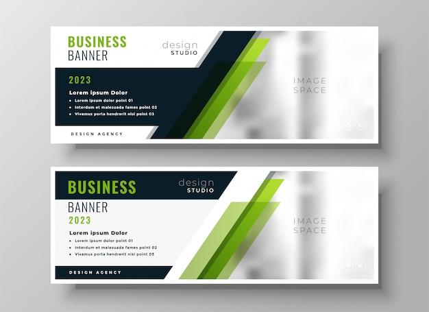 Plantilla de diseño de banner de negocios verde profesional vector gratuito