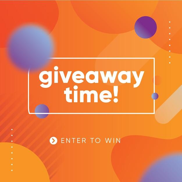 Plantilla de diseño de banner vibrante de sorteo para redes sociales con fondo naranja Vector Premium