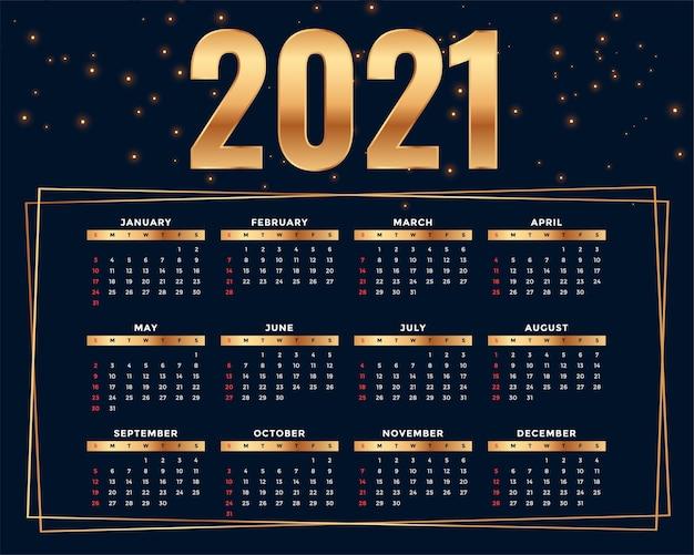 Plantilla de diseño de calendario 2021 de estilo dorado brillante vector gratuito
