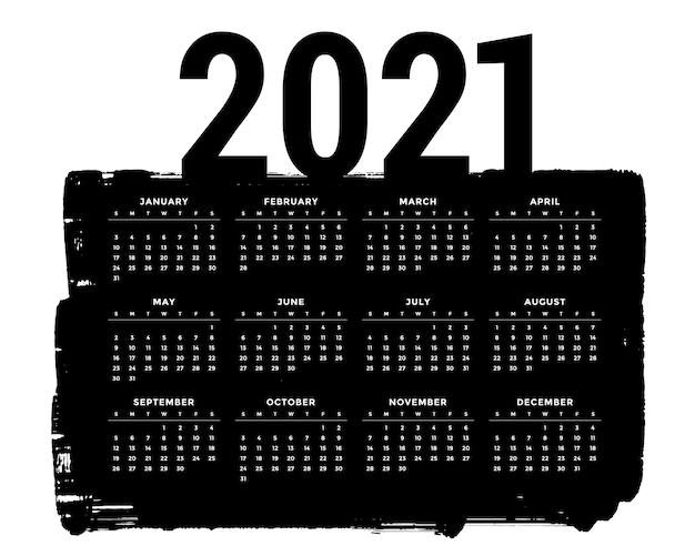Plantilla de diseño de calendario 2021 negro estilo grunge abstracto vector gratuito