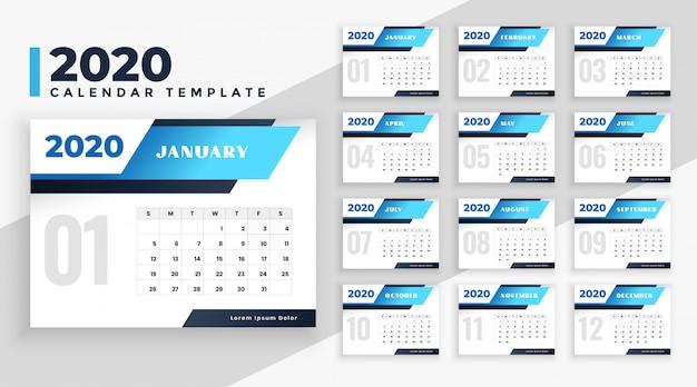 Plantilla de diseño de calendario moderno 2020 vector gratuito