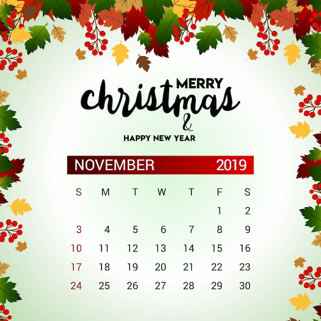 Fechas Talleres Dulces De Octubre: Plantilla De Diseño De Calendario De Noviembre De 2019 De