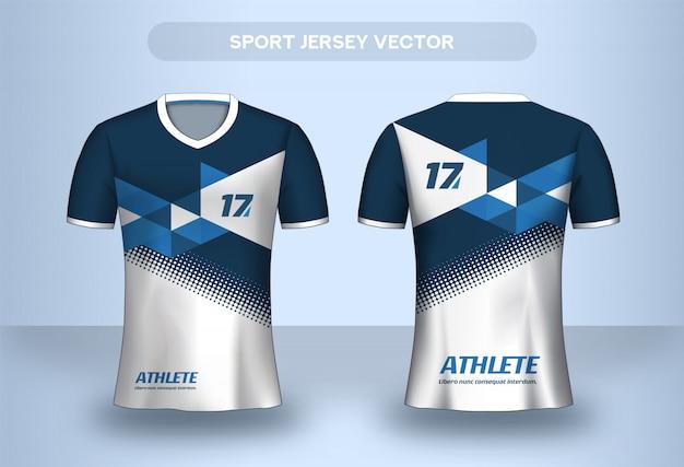 Plantilla de diseño de camiseta de fútbol. camisa de diseño corporativo. camiseta de uniforme del club de fútbol vista frontal y trasera. Vector Premium