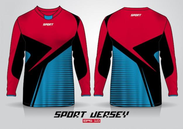 Plantilla de diseño de camiseta de manga larga, vista frontal y trasera uniforme. vector Vector Premium