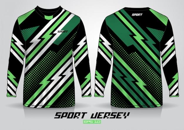 Plantilla de diseño de camiseta de manga larga, vista frontal y trasera uniforme. Vector Premium