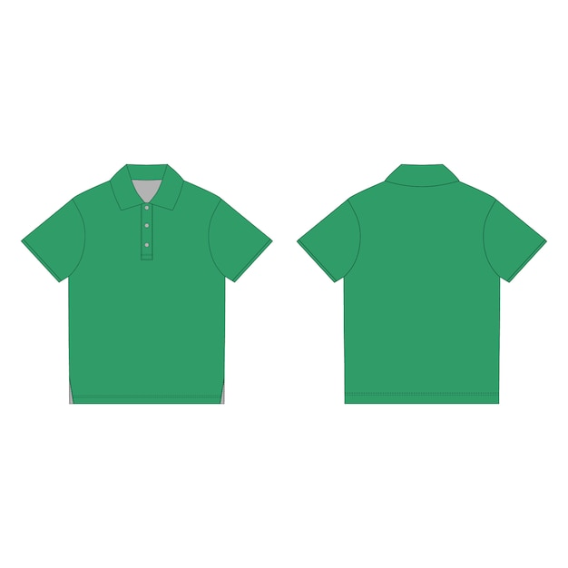 Plantilla de diseño de camiseta polo verde. camiseta polo unisex con dibujo técnico en la parte delantera y trasera. Vector Premium