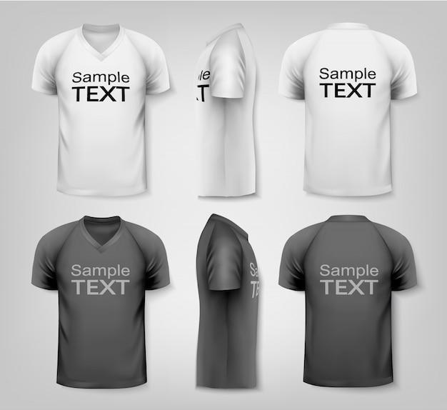 Plantilla de diseño de camisetas de hombres en blanco y negro y color Vector Premium