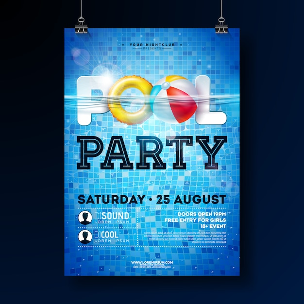 Plantilla de diseño de cartel de fiesta de piscina de verano con agua Vector Premium