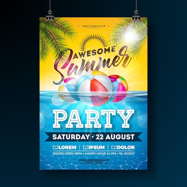 Plantilla de diseño de cartel de fiesta de piscina de verano con hojas de palma y pelota de playa sobre fondo azul océano submarino. ilustración de vacaciones para pancarta, folleto, invitación, póster. vector gratuito