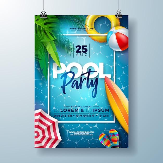 Plantilla de diseño de cartel de fiesta en la piscina de verano con hojas de palmera y pelota de playa vector gratuito
