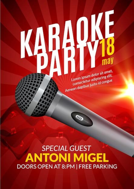 Plantilla de diseño de cartel de invitación de fiesta de karaoke. diseño de flyer de noche de karaoke. concierto de voz musical Vector Premium
