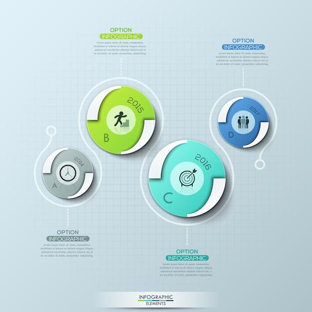 Plantilla de diseño creativo infografía con 4 elementos redondos, pictogramas, indicación de año y cuadros de texto. Vector Premium