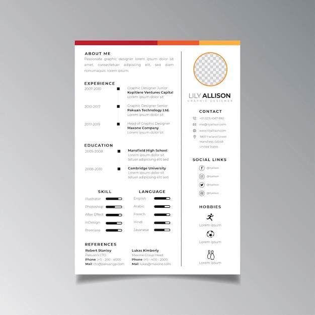 Plantilla de diseño de curriculum vitae profesional minimalista. vector de diseño de negocios para la plantilla de solicitudes de empleo. Vector Premium