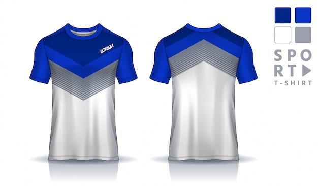 Plantilla de diseño deportivo de camiseta, maqueta de camiseta de fútbol para club de fútbol. vista frontal y posterior uniforme. Vector Premium