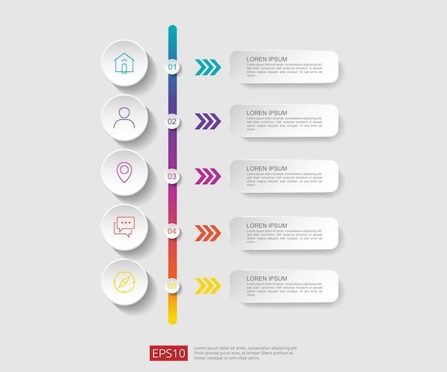 Plantilla de diseño de diagrama de flujo de infografía de 5 pasos Vector Premium