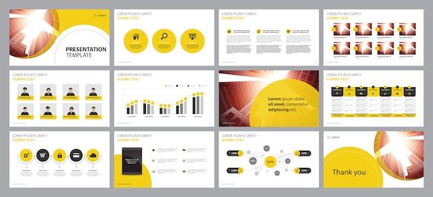 Plantilla de diseño de diseño de presentación de negocios amarillo Vector Premium